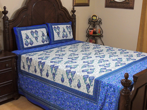 Blue Mauve Paisley Cotton Printed Sheet Set – Ethnic Bedding Pillowcases ~ Queen