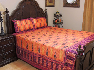 Orange Mulberry Cotton Gold Printed Sheet Set – Ethnic Bedding Pillowcases ~ Queen