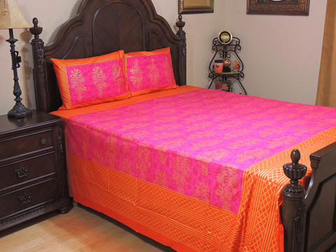 Barbie Pink Orange Cotton Gold Printed Sheet Set – Ethnic Bedding Pillowcases ~ Queen