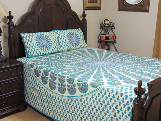 Teal Peacock Plumage Fan Cotton Printed Sheet Set – Ethnic Bedding Pillowcases ~ Queen