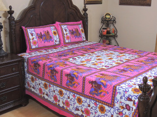 Elegant Pink Elephant Procession Cotton Printed Sheet Set U2013 Ethnic Bedding  Pillowcases ~ Queen