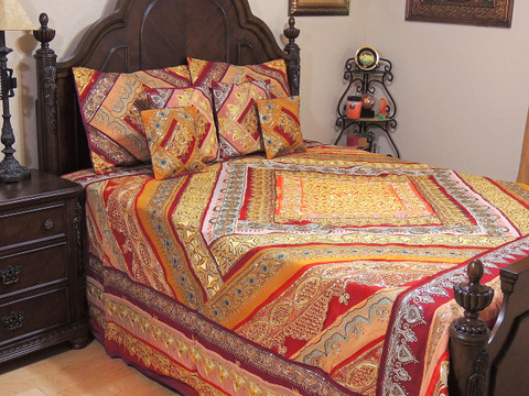 Rust Orange and Maroon Indian Sari Bedding - Beaded Duvet with Pillows Cushion Covers ~ King