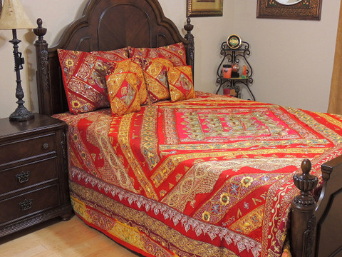 Bridal Red Indian Inspired Sari Bedding - Beaded Duvet with Pillows Cushion Covers ~ King