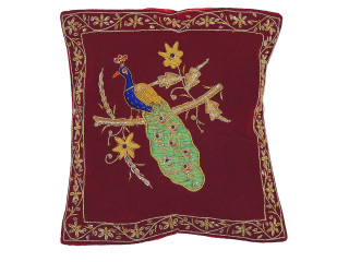 Burgundy Decorative Peacock Pillowcase Dabka Handmade Velvet Couch Cushion