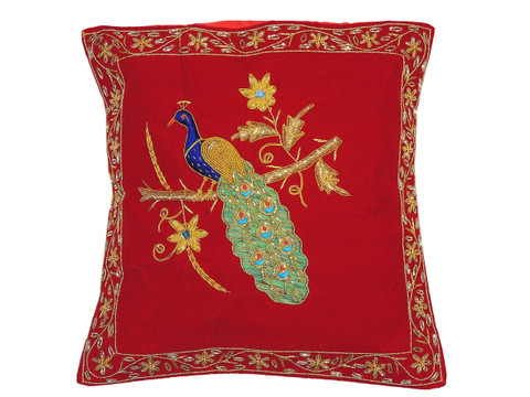 Red Decorative Peacock Pillowcase Dabka Handmade Velvet Couch Cushion