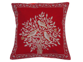 Red Tree of Life Pillowcase Dabka Handmade Velvet Couch Cushion 16""