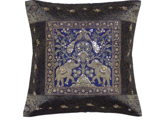 Blue Gold Peacock Elephant Accent Pillow Cover - Zari Brocade Sequin Cushion 16""