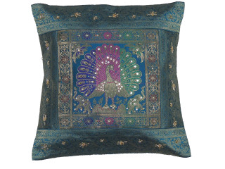 Teal Gold Dancing Peacock Accent Pillow Cover - Zari Brocade Sequin Cushion 16""