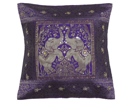 Purple Gold Elephant Accent Pillow Cover - Zari Brocade Sequin Cushion 16""