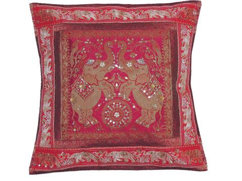 "Magenta Gold Elephant Accent Pillow Cover - Zari Brocade Sequin Cushion 16"""