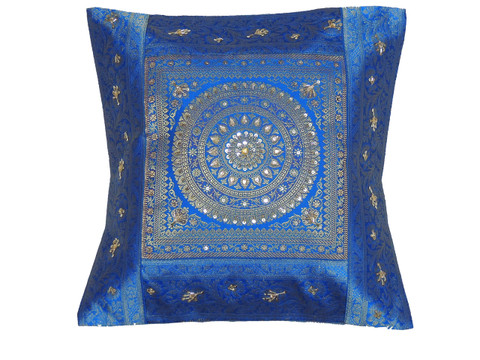 Blue Gold Mandala Accent Pillow Cover - Zari Brocade Sequin Cushion 16""
