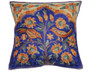 """Blue Kashmir Tree of Life Cushion Cover - Crewel Embroidery Couch Pillow ~ 16"""""""