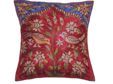 """Maroon Kashmir Tree of Life Cushion Cover - Crewel Embroidery Couch Pillow ~ 16"""""""