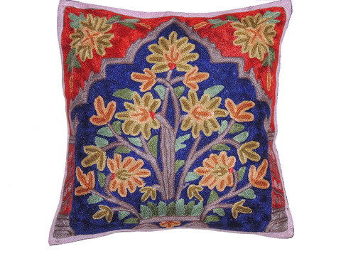 Blue Kashmir Floral Bouquet Cushion Cover - Crewel Embroidery Couch Pillow ~ 16""