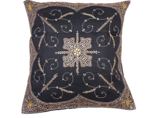 Black Beaded Zardozi Floor Pillow Cover - Handmade Unique Dazzling Square Euro Sham 26""