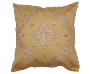 Gold Beaded Zardozi Floor Pillow Cover - Handmade Unique Dazzling Square Euro Sham 26""