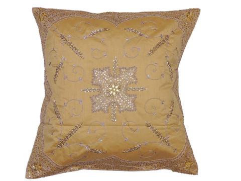 "Gold Stylish Beaded Floor Pillow Cover - Handmade Unique Dazzling Square Euro Sham 26"""