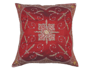 Burgundy Beaded Zardozi Floor Pillow Cover - Handmade Unique Dazzling Square Euro Sham 26""