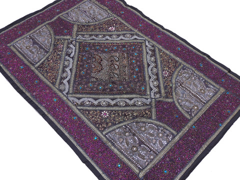 Black Purple Huge Indian Wall Hanging - Handmade Kundan Decorative Textile Tapestry 70""