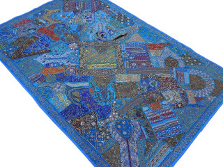 """Blue Huge Decorative Wall Hanging - Handmade Beaded Ethnic Textile Tapestry 90"""""""
