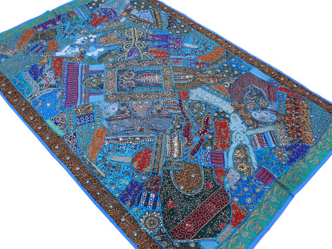 Blue Huge Indian Wall Hanging - Handmade Beaded Ethnic Textile Tapestry 90""