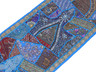 "Blue Beaded Sari Patchwork Tapestry - Indian Wall Hanging Sari Runner 60"" x 20"""