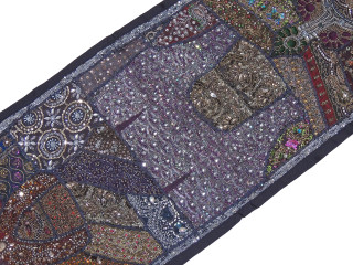 "Black Beaded Sari Patchwork Tapestry - Indian Wall Hanging Sari Runner 60"" x 20"""
