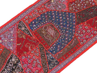 "Red Beaded Sari Patchwork Tapestry - Indian Wall Hanging Sari Runner 60"" x 20"""