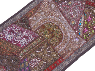 "Brown Sari Embellished Textile Tapestry - Indian Wall Hanging Sari Runner 60"" x 20"""