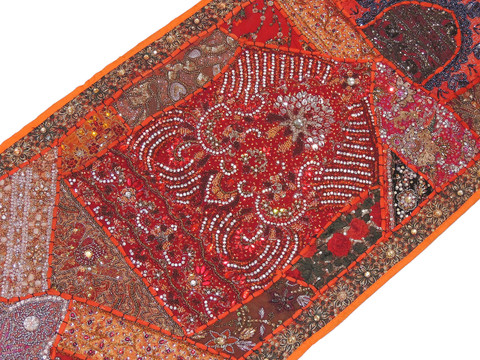 "Orange Beaded Sari Patchwork Tapestry - Indian Wall Hanging Sari Runner 60"" x 20"""