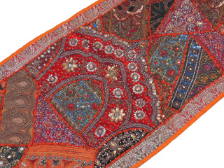 "Orange Sari Embellished Textile Tapestry - Indian Wall Hanging Sari Runner 60"" x 20"""