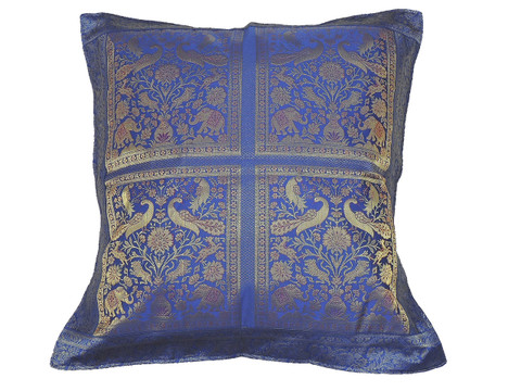 Persian Blue Elephant Peacock Floor Pillow Cover - Trendy Large Euro Sham 26""