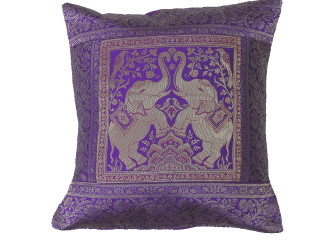 Purple Dancing Elephant Throw Pillow Cover - Sari Brocade Accent Couch Cushion 16""