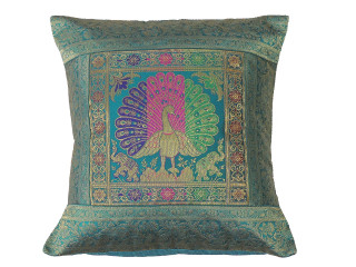 Teal Bohemian Dancing Peacock Throw Pillow Cover - Sari Brocade Accent Couch Cushion 16""