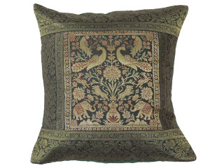 """Forest Green Gold Peacock Throw Pillow Cover - Sari Brocade Accent Couch Cushion 16"""""""