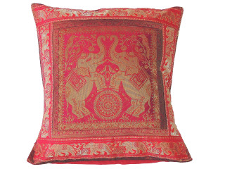 Hot Pink Elephant Throw Pillow Cover - Sari Brocade Accent Couch Cushion 16""