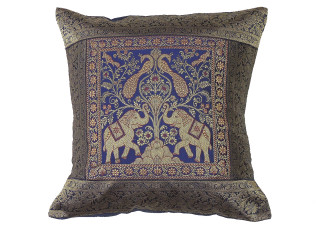 """Navy Blue Elephant Peacock Throw Pillow Cover - Sari Brocade Accent Couch Cushion 16"""""""