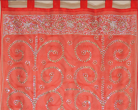 Maroon Sheer Beaded Curtain Panel - Handmade Embroidered Indian Window Treatments 92""