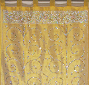 Vegas Gold Sheer Beaded Curtain Panel - Handmade Embroidered Indian Window Treatments 92""