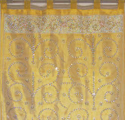 """Vegas Gold Sheer Beaded Curtain Panel - Handmade Embroidered Indian Window Treatments 92"""""""