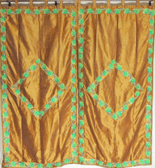 Pomona Gold Curtain Panels Zari Border - 2 Embroidered Trendy Window Treatments 82""