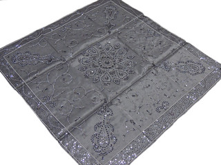 Elegant Beadwork Tablecloth Topper Home Accessory Designer India Table Cover