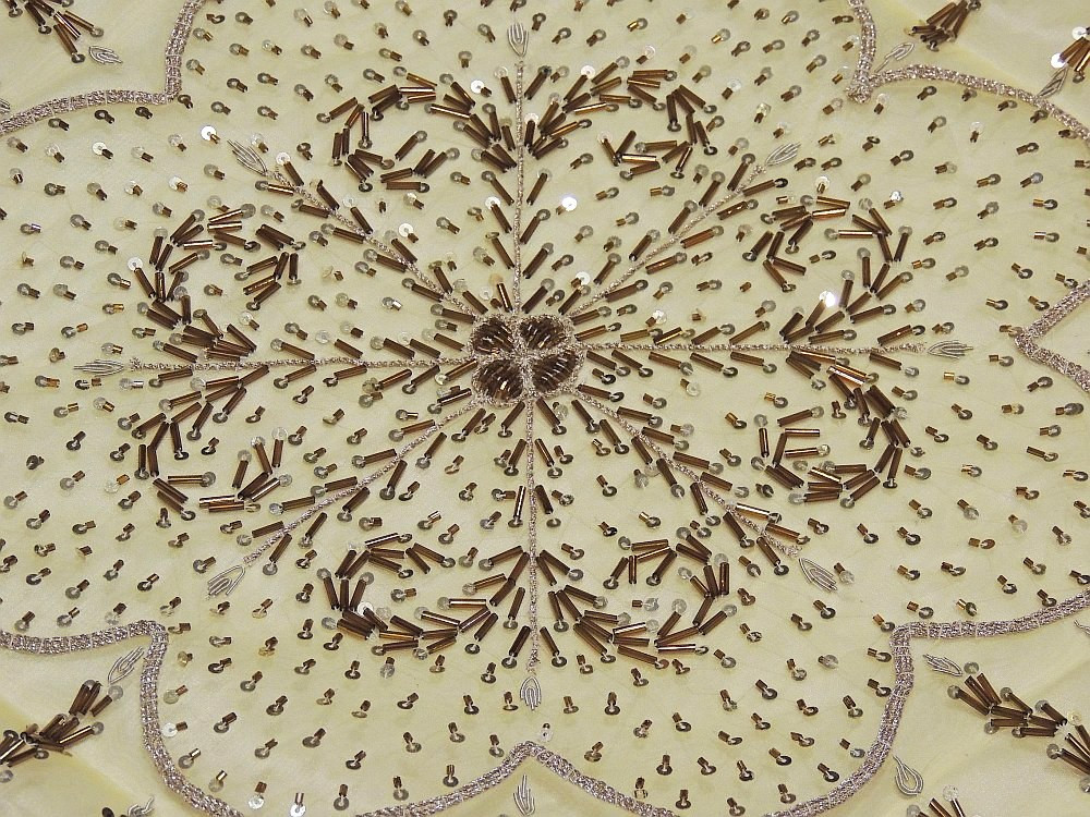 Hand Embroidered Indian Tablecloth Beaded Pale Gold Organza Fabric Table  Overlay · Image 2 · Image 3 ...