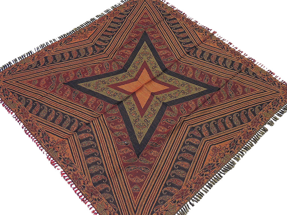 Retro Style Wool Tablecloth Kashmir Woven Geometric Pattern Table Overlay  India.