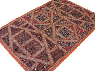 Orange Indian Wall Tapestry Decorative Sari Bead Work Handmade Handicraft Decor