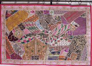 Pink Indian Patchwork Fabric Tapestry Wall Hanging Art