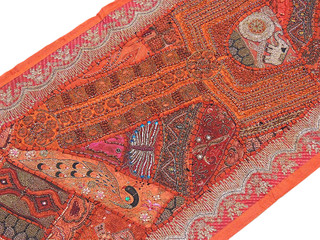 Russet India Patchwork Textile Traditional Folk Art Home Decorating Wall Hanging