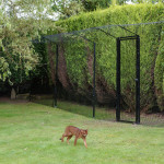 The Enclosure Gate Kit includes: Gate frame - Inner and outer frames connected with butt hinges, magnetic latch, 2 extra long pregalvanised and powdercoated heavy duty posts (2.4m), post end caps, 2 ProtectaPet cat or dog fence brackets, 2 corner clamp bars, 10 stainless steel screws (30mm) and 4 x 70mm M8 through bolt with nylock nut for added security.