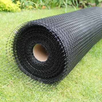 A sample of 80gsm high tensile plastic mesh. This can be used between brackets all around the cat containment boundary.