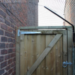 Hooks are used to support wire frames for mesh screens and joining mesh to brickwork.